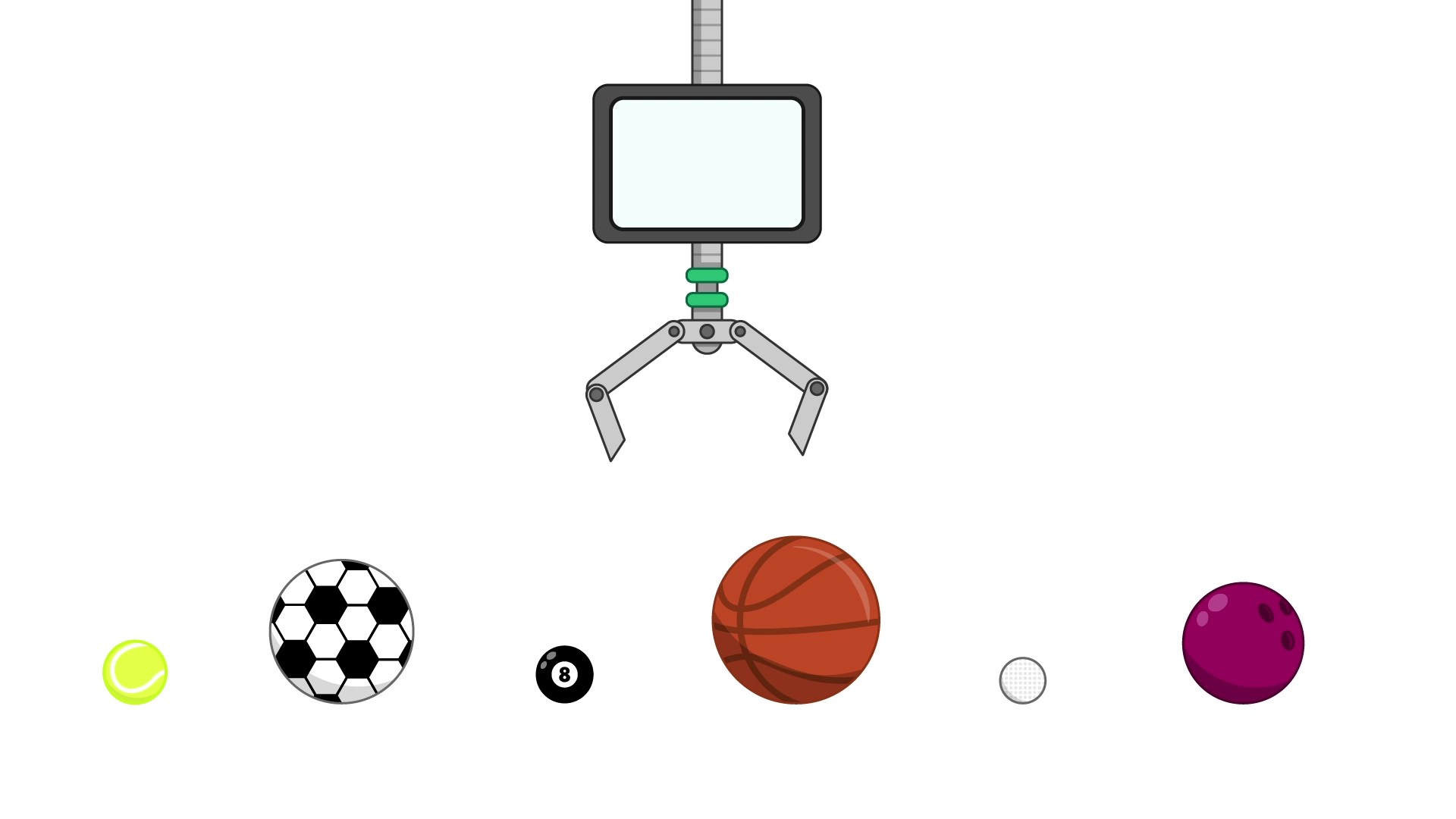 Six unsorted balls in a line, with a robotic claw with a screen above them. In order from left to right, the balls are a tennis ball, a soccer ball, a pool ball, a basketball, a golf ball and a bowling ball.