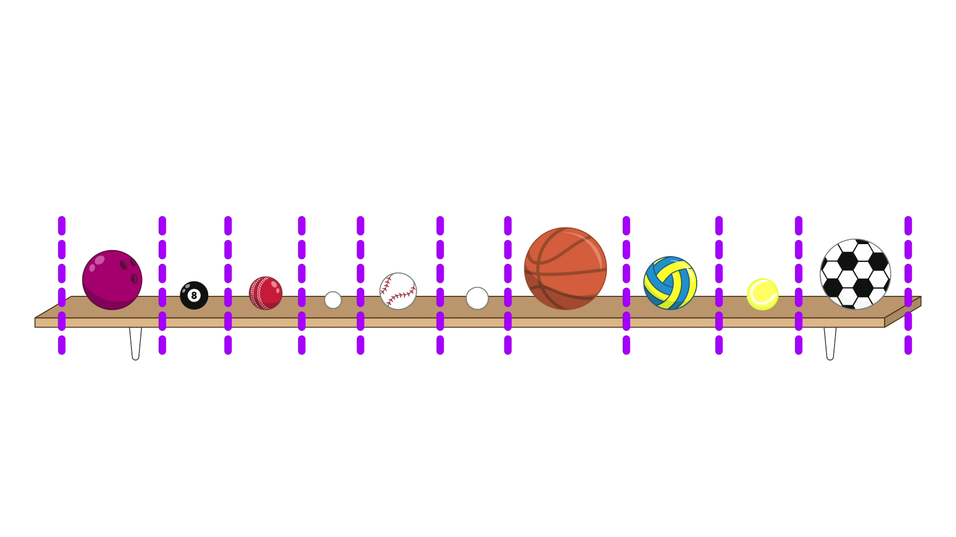 10 balls on a shelf, split into 10 sections by dashed purple lines. The balls are, in order, a bowling ball, a pool ball, a cricket ball, a ping pong ball, a baseball, a golf ball, a basketball, a netball, a tennis ball, and a football (soccer ball).