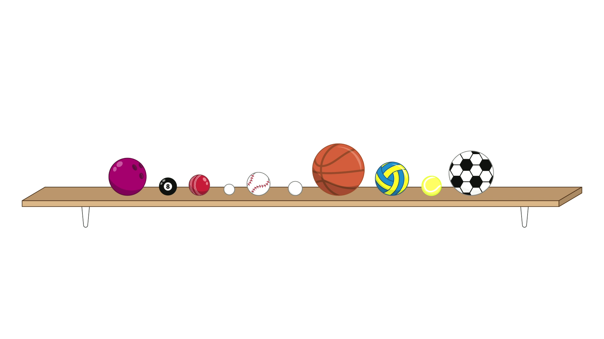 10 balls on a shelf. The balls are, in order, a bowling ball, a pool ball, a cricket ball, a ping pong ball, a baseball, a golf ball, a basketball, a netball, a tennis ball, and a football (soccer ball)