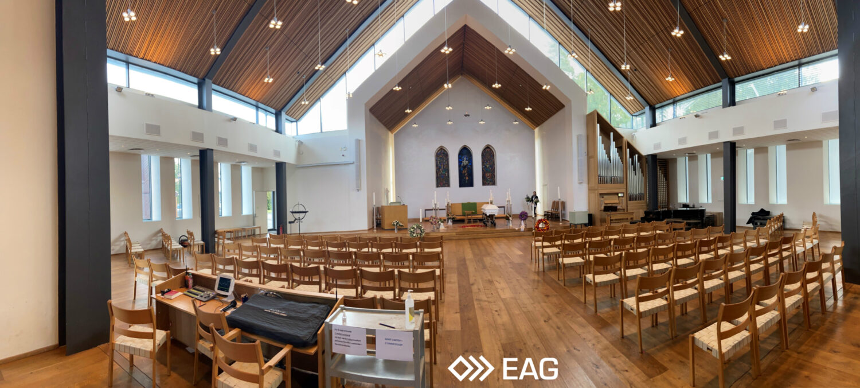 Nordstrand Kirke Elverhøy EAG Panorama inne i kirken 2