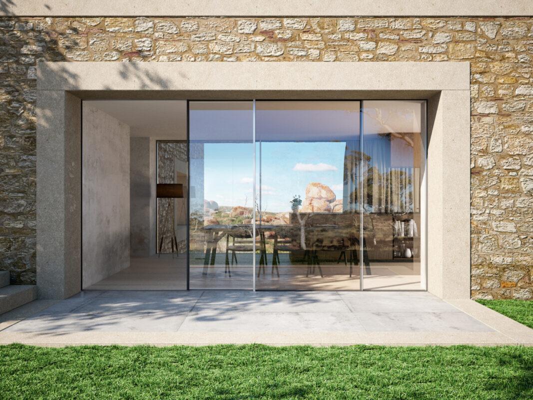 Skydedøren med Panorama Design Schüco ASS 39 PD bygges helt ind i vægge, tag og gulv
