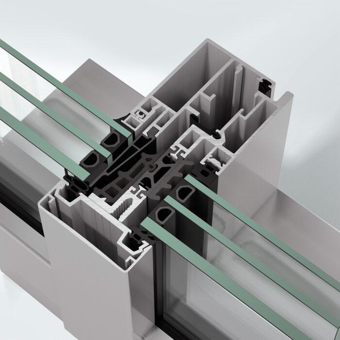 Fasadesystem Schüco FWS 60 CV.HI med integrert vindu
