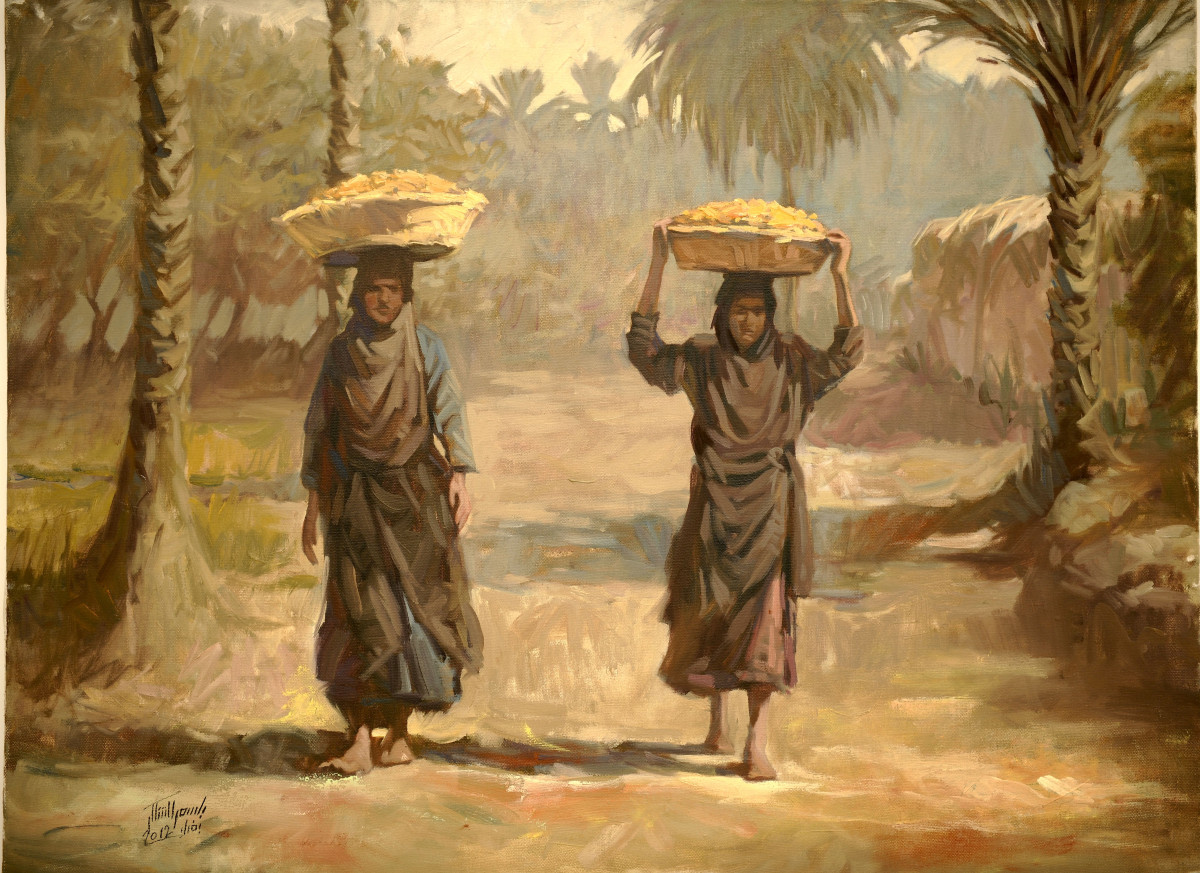 Bassim Al-Shaker, Date Sellers, 2011, oil on canvas, 60 x 80 cm, courtesy of tha artists, Al-Nakhla Gallery adn RUYA Foundation - copie