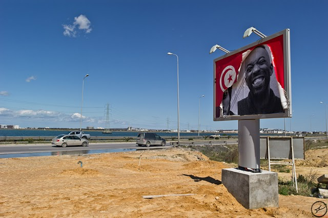 A JR poster replaces head of Ben Ali, Tunisia.
