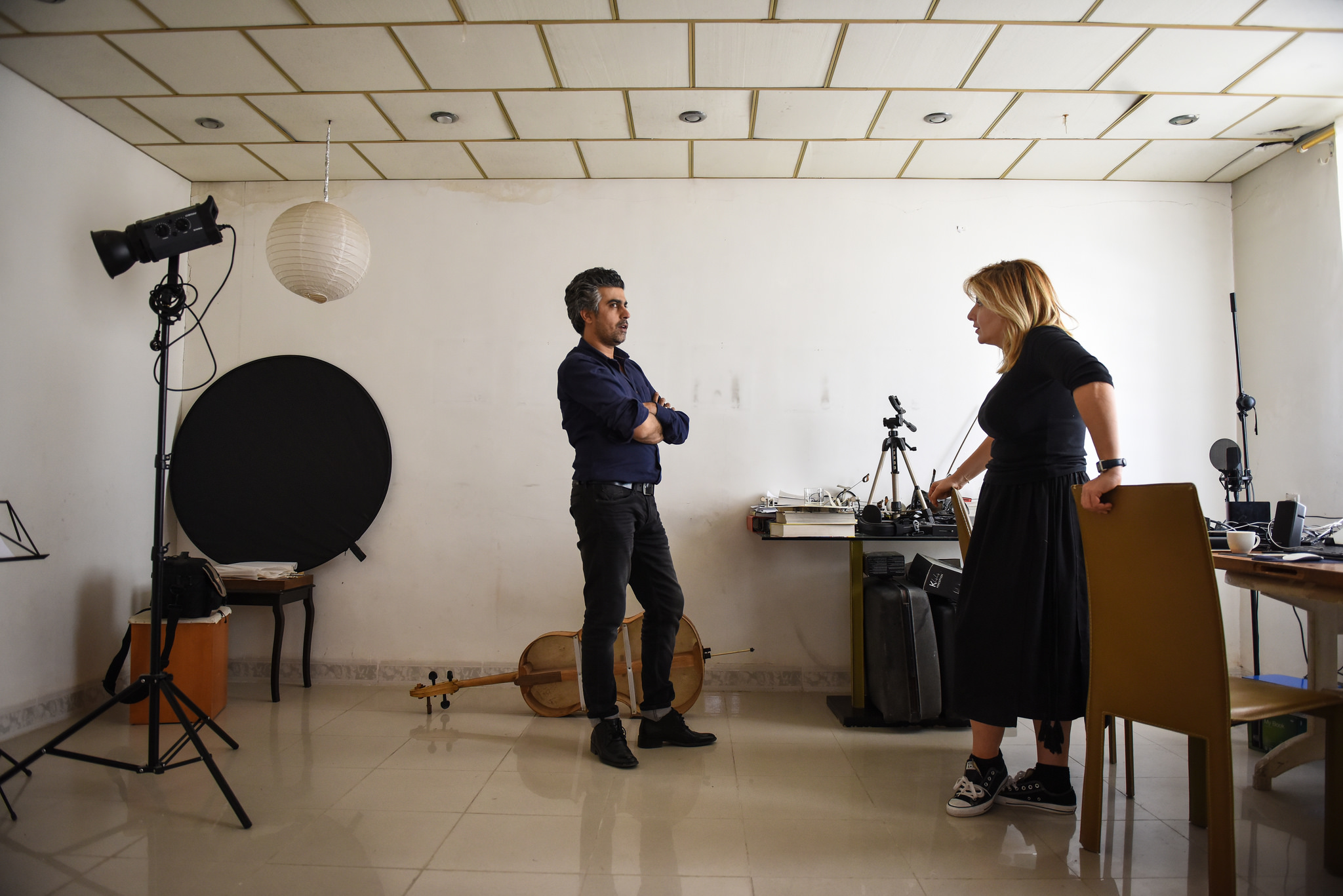 Sherko Abbas and Tamara Chalabi in the artist's studio in Sulaymaniya. Photo: Ruya Foundation