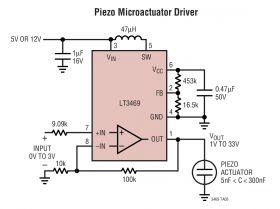 LT3469 - Piezo Microactuator Driver with Boost Regulator