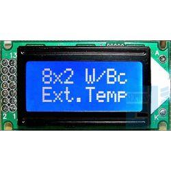 WYŚWIETLACZ LCD 2x8 BIW NEGATYW BLUE 8x2 CYRYLICA