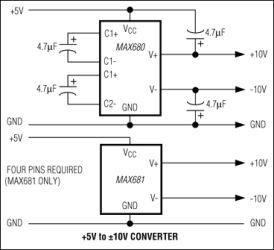 MAX680 +5V to &#17710V Voltage Converter