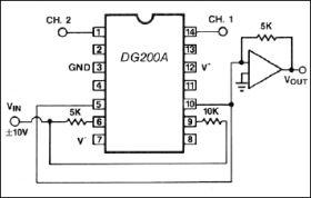 DG200A Dual Monolithic SPST, CMOS Analog Switch (2 NC)