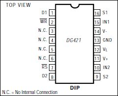 DG423 Improved, Low On-Resistance, Dual SPDT CMOS Analog Switch
