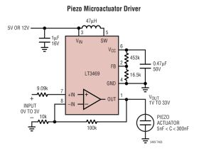 LT3469 - Piezo Microactuator Driver with Boost Regulator