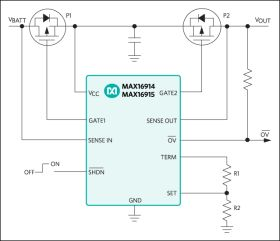 MAX16915 Ideal Diode, Reverse-Battery, OVP Switch/Limiter Controllers for External MOSFET