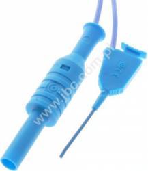 6606-D4-50-BL Klips mini SMD, pazurkowy, z przewodem zakończonym gniazdem izolowanym 4mm, niebieski, ELECTRO-PJP, 6606D450BL