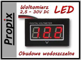 Woltomierz LED 2.5-30V czerwony wodoszczelny FV