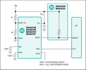 MAX6751 µP Reset Circuit with Fixed & Adjustable Reset Threshold, Standard Watchdog Timer, and Open-Drain Active-Low Reset