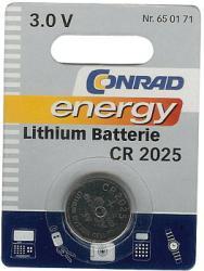 Bateria guzikowa, litowa Conrad Energy CR 2025, 3V, 140 mAh