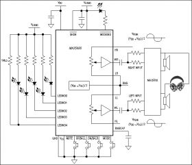 MAX5486 Stereo Volume Control with Pushbutton Interface