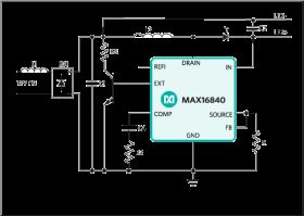 MAX16840 LED Driver with Integrated MOSFET for MR16 and Other 12V AC Input Lamps