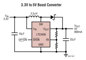 LTC3426 - 1.2MHz Step-Up DC/DC Converter in SOT-23