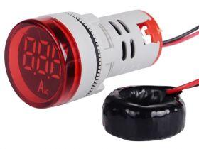 Amperomierz panelowy 100A AC, LED kolor czerwony