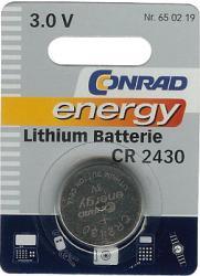 Bateria guzikowa, litowa Conrad Energy CR 2430, 3V, 270 mAh