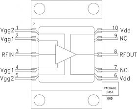 HMC1086F10 - 25 Watt Flange Mount GaN MMIC Power Amplifier, 2 - 6 GHz