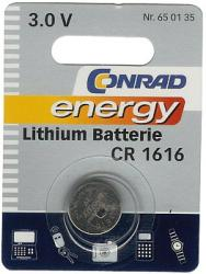 Bateria guzikowa, litowa Conrad Energy CR 1616, 3V, 45 mAh