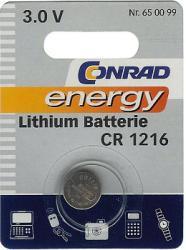 Bateria guzikowa, litowa Conrad Energy CR 1216, 3V, 25 mAh