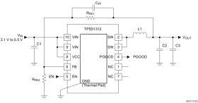 TPS51312 - 3.1V to 5.5V Input, DCAP2 Mode, 3A, 900KHz Integrated Step-Down Converter
