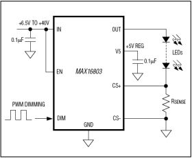 MAX16803 High-Voltage, 350mA, High-Brightness LED Driver with PWM Dimming