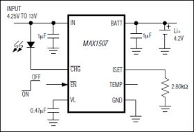 MAX1507 Linear Li+Battery Charger with Integrated FET and Programmable Thermal Regulation in 3x3mm, Thin DFN