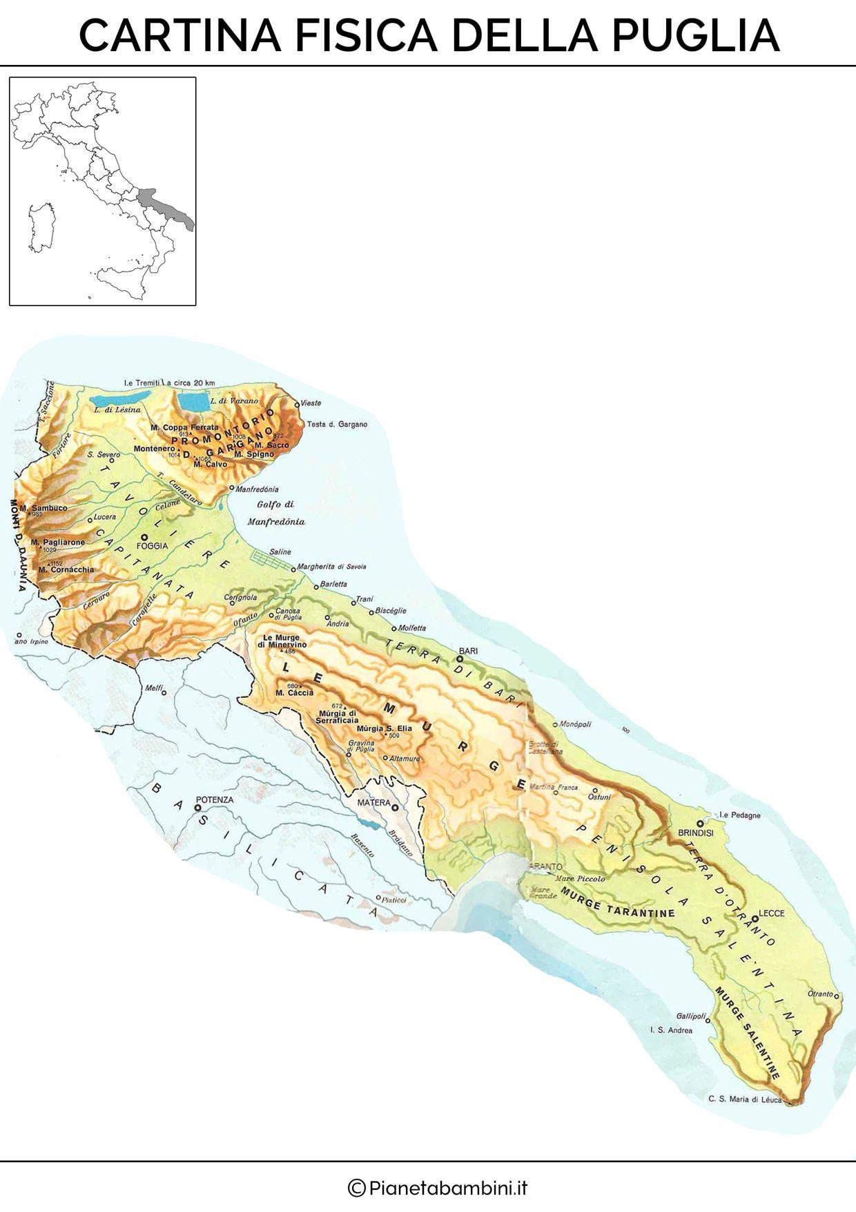 Cartina Puglia Localita Turistiche.Cartina Puglia Per Geografia