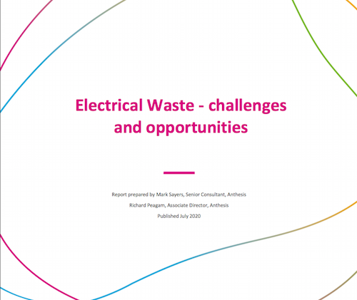 cover of report titled Electrical waste - challenges and opportunities