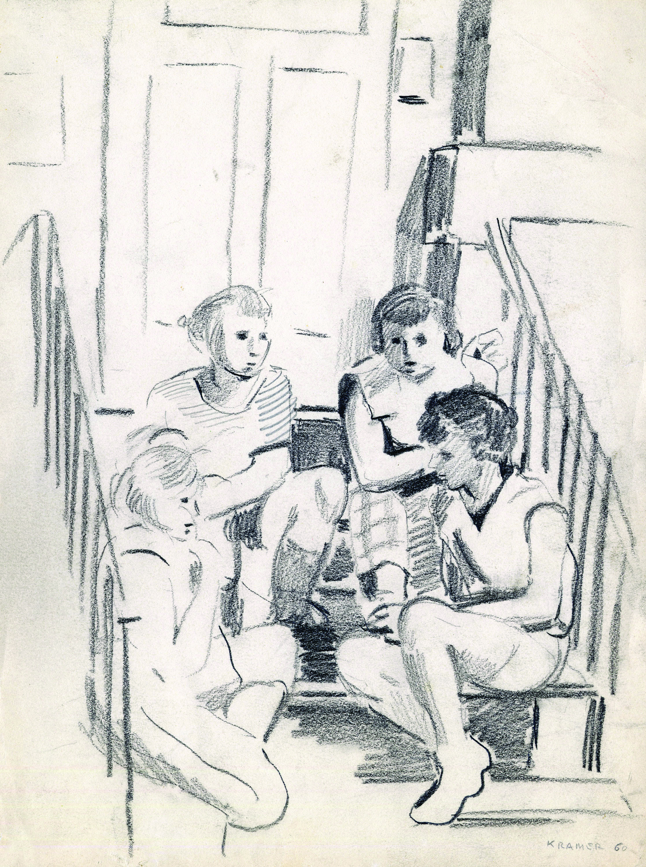 Edith's drawing of children on the stoop