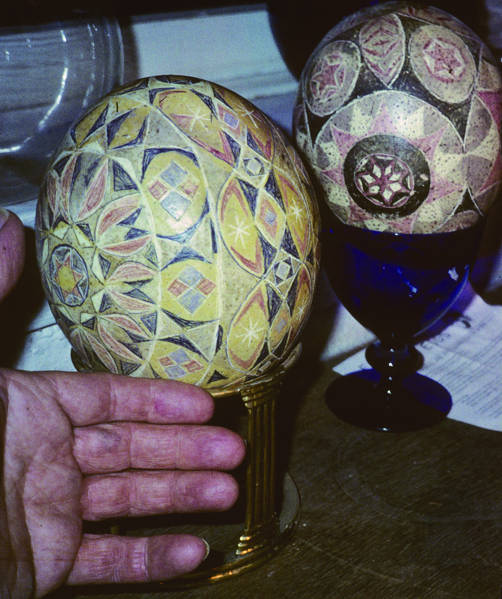 Ostrich eggs with Ukrainian wax resist dye