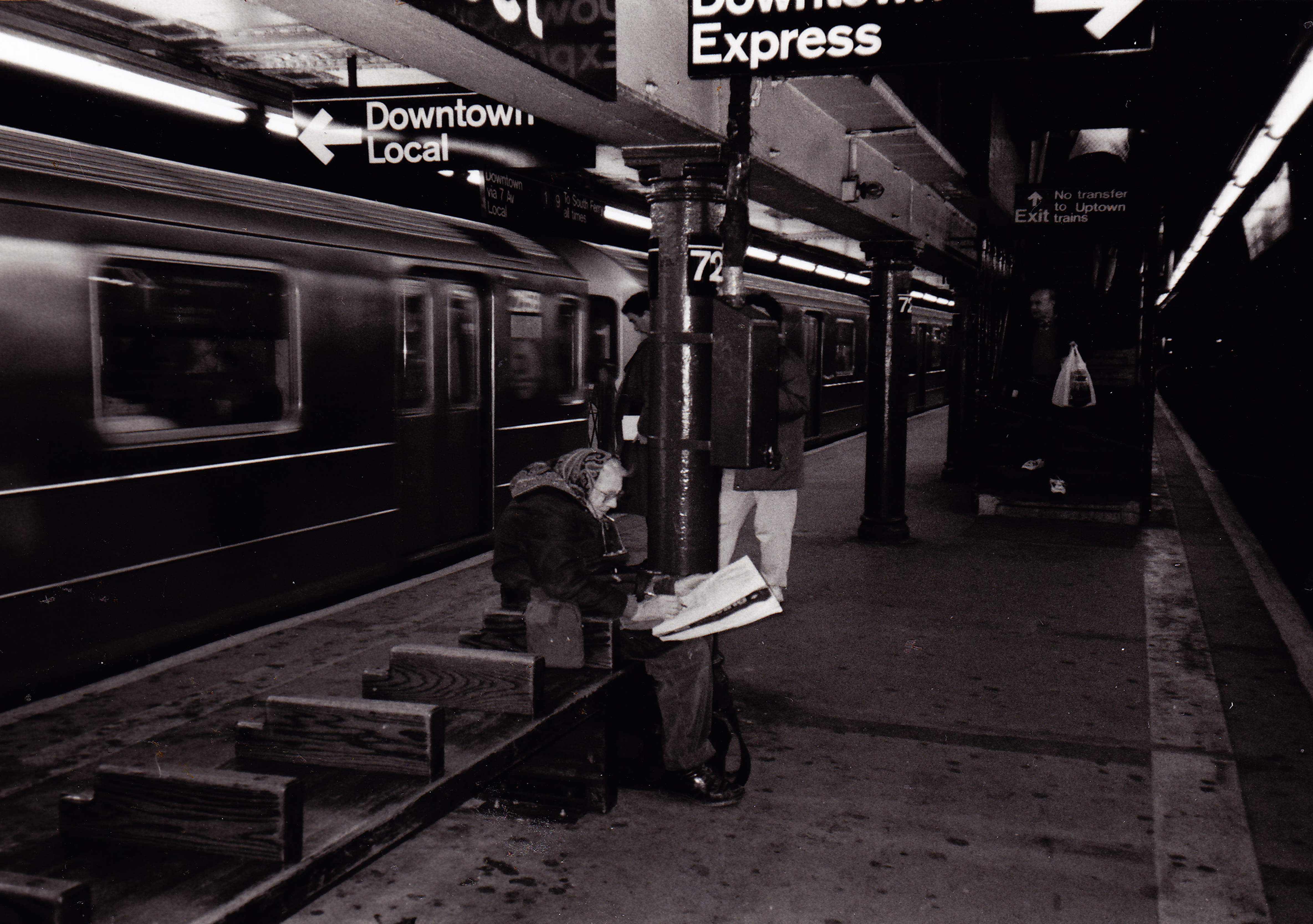 Edith drawing in the subway