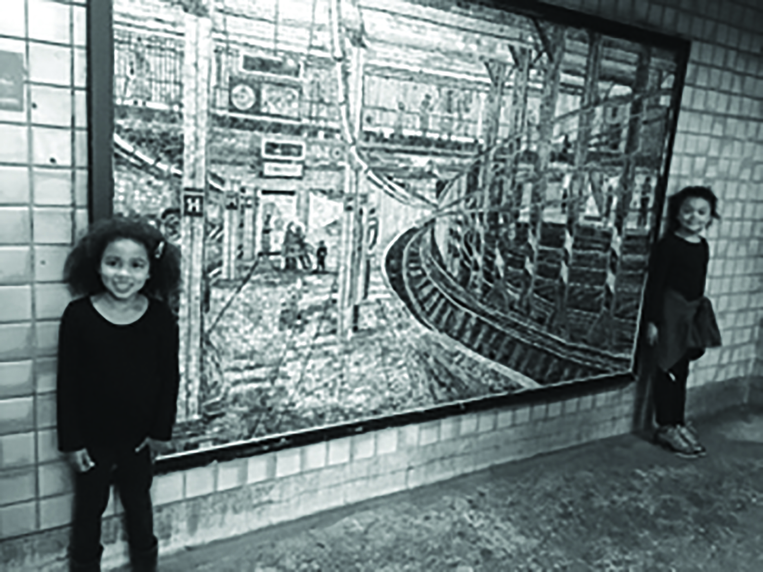 The grandchildren with the Subway Mosaic