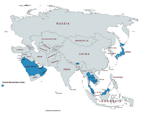 Map 4 - Current Monarchies in Asia