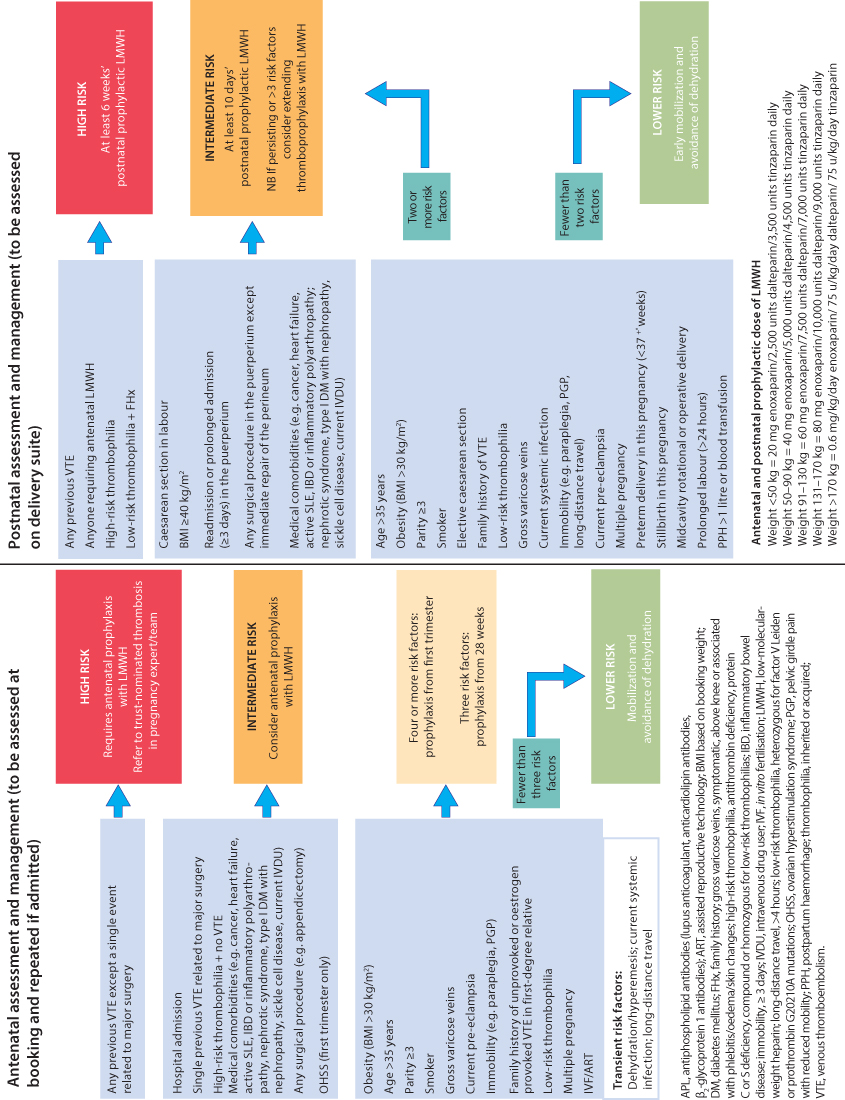 Figure 6.2 Obstetric thromboprophylaxis risk assessment and management. (Adapted from RCOG Green-top Guideline No. 37a, April 2015.)