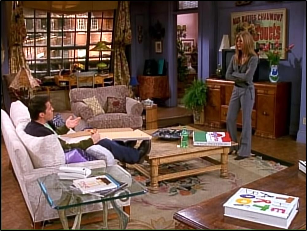Figure 3.7 In the exposition of a Friends episode, Rachel asks Joey for key narrative information, which he cannot provide.