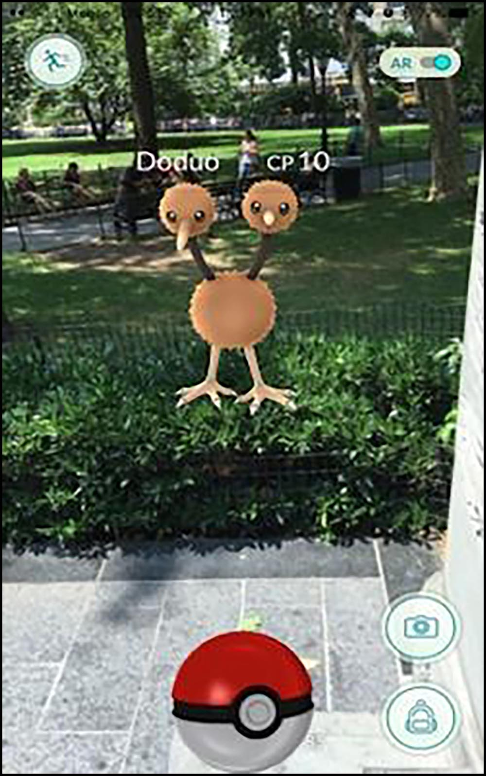 Figure 3.18 In the augmented reality game, Pokémon Go, game characters appear over real-­life settings.