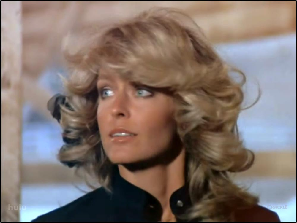 "Figure 4.8 Farrah Fawcett's hair (and implications of ""blondness"" and ""sexuality"") was a major feature of Charlie's Angels."