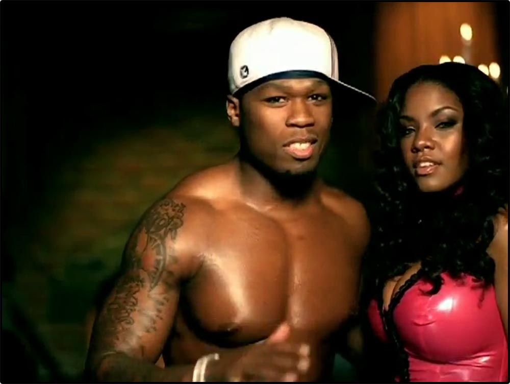 Figure 4.9 50 Cent's appearance conveys masculine sexuality in the Candy Shop music video.