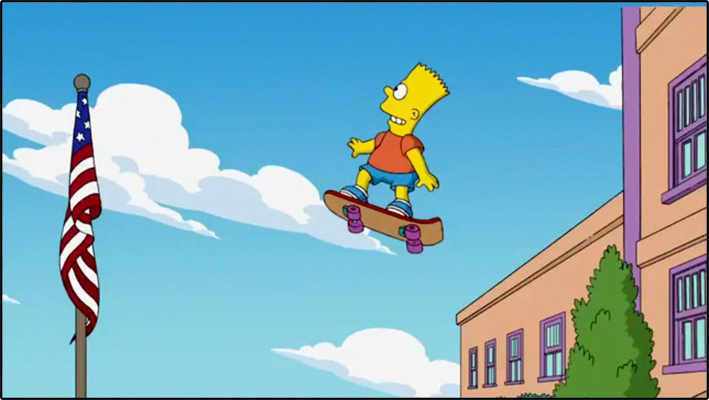 Figure 4.12 Bart Simpson's skateboard is an objective correlative of his reckless character.