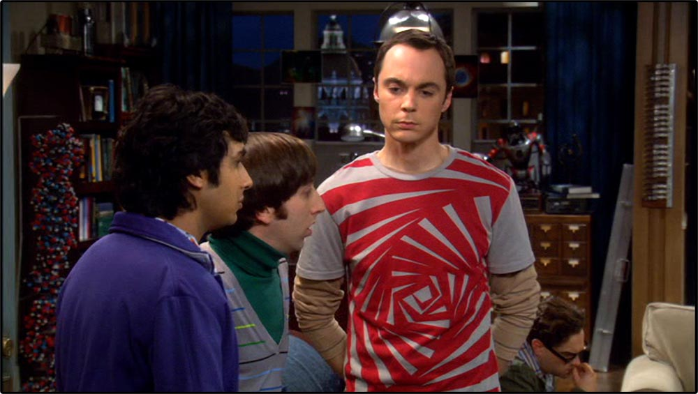 Figure 4.17 Jim Parsons's body posture and gesturing help construct the constrained, rigid character of Sheldon Cooper in The Big Bang Theory.