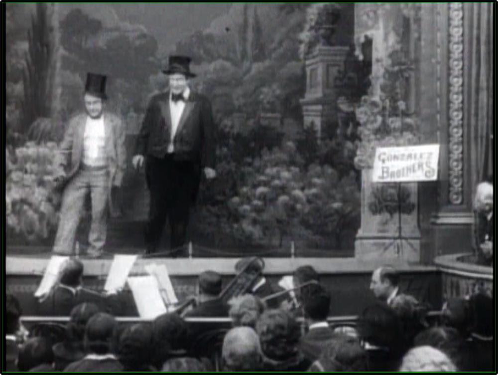 Figure 4.22 Vaudeville performers often spoke directly to the audience, as illustrated by this silent film of the Gonzalez Brothers.