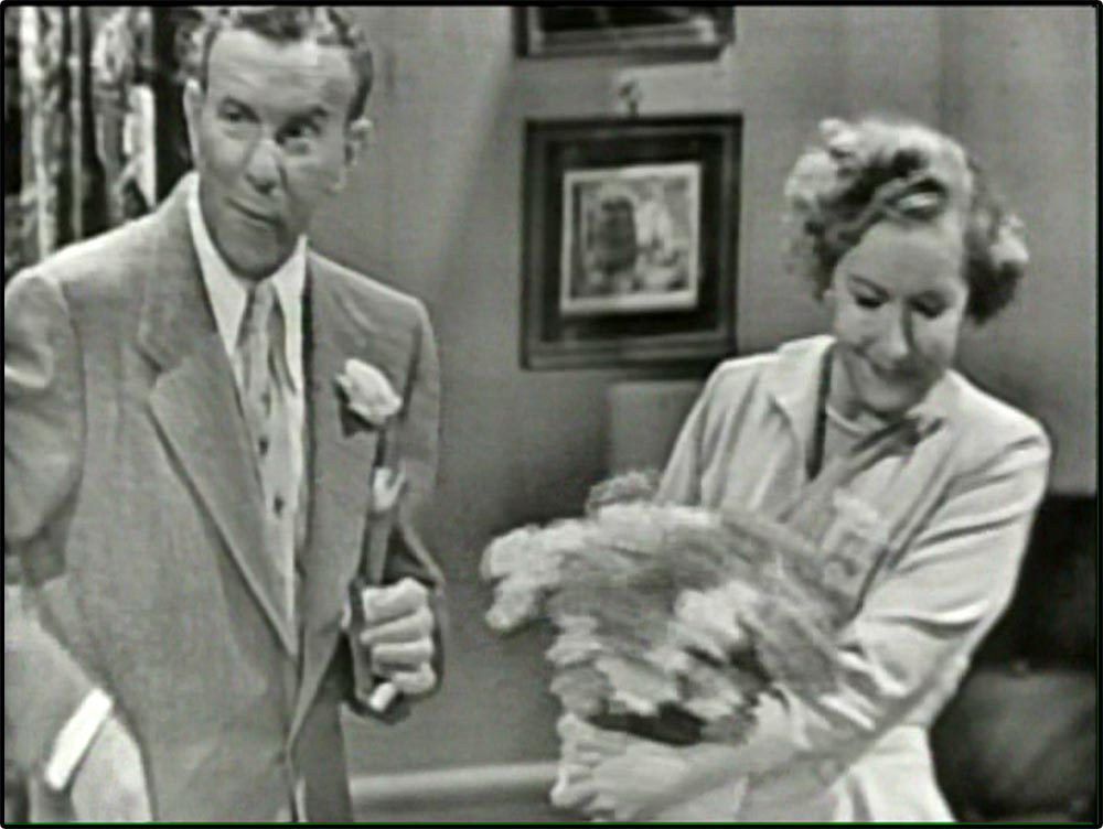 Figure 4.23 George Burns simultaneously addresses a studio audience and the viewer of The George Burns and Gracie Allen Show. He comments on the episode's story . . .