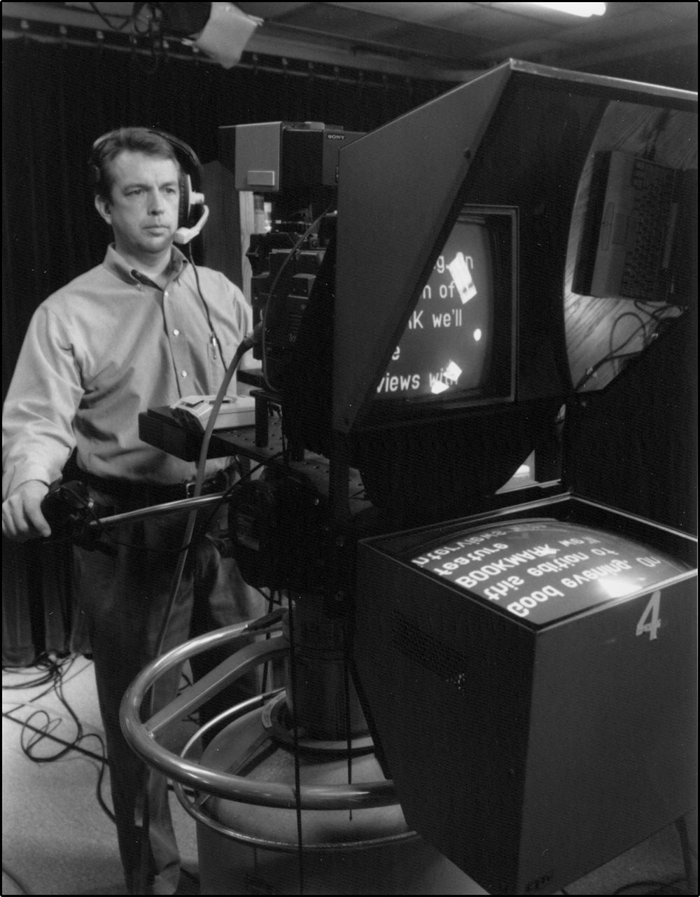 Figure 5.2 A TelePrompTer displays news copy directly in front of the lens.