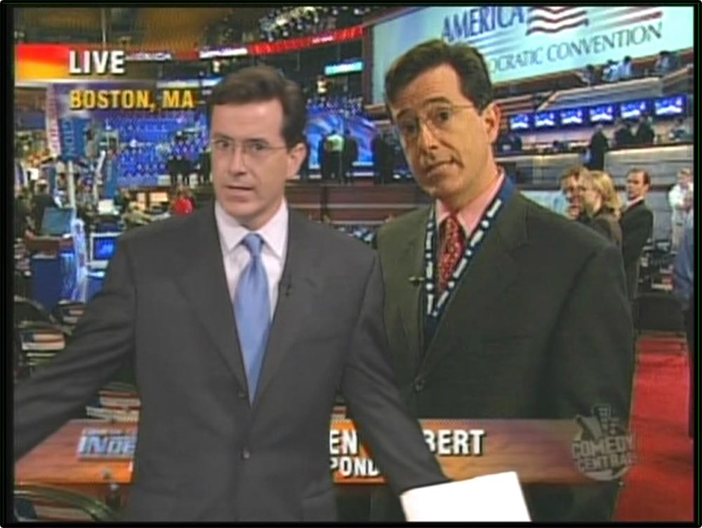 Figure 5.13 The Daily Show pokes fun at the conventions of news reporting, with Stephen Colbert standing in front of a video image of himself.