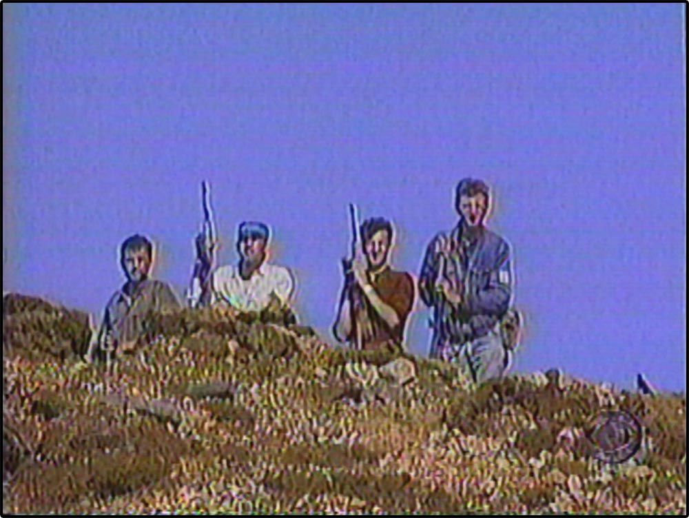 Figure 5.16 CBS's story ends with Muslim fighters on the literal high ground . . .
